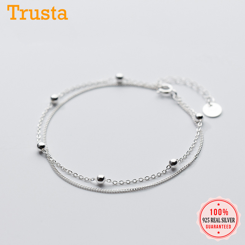 Trusta 100% 925 Sterling Silver Fashion Women's Jewelry Double Layer Beads Bracelet 16cm For Gift Girls Lady Drop Shipping DS454