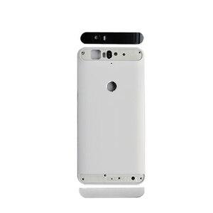 Image 3 - Para huawei google nexus 6 p bateria de volta capa traseira porta habitação + superior lente flash lente vidro substituição peças reparo