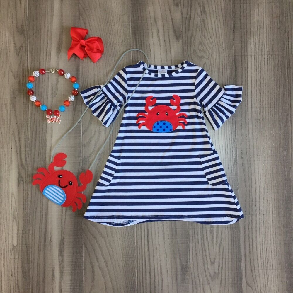 baby girls summer dress outfits girls stripe crab dress matching crab purse and accessories
