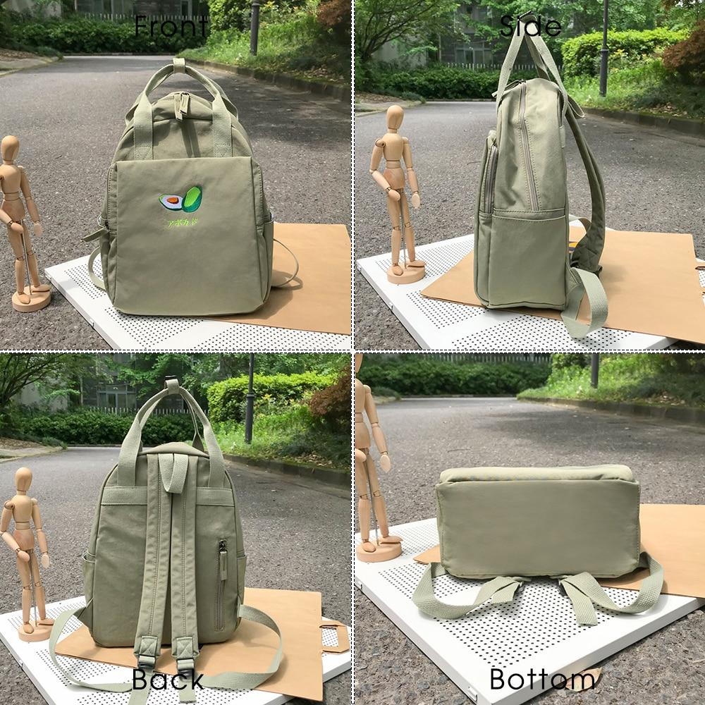 Image 4 - Fashion Avocado Fruit Embroidery Women Backpack Shoulder Bag Waterproof Nylon Bagpack Casual Schoolbag for Teens female backpackBackpacks   -