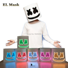GZYUCHAO EL EVA Marshmellow Helmet Wire Full Face Mask Cosplay DJ LED Rave For Dance Club Bar Night