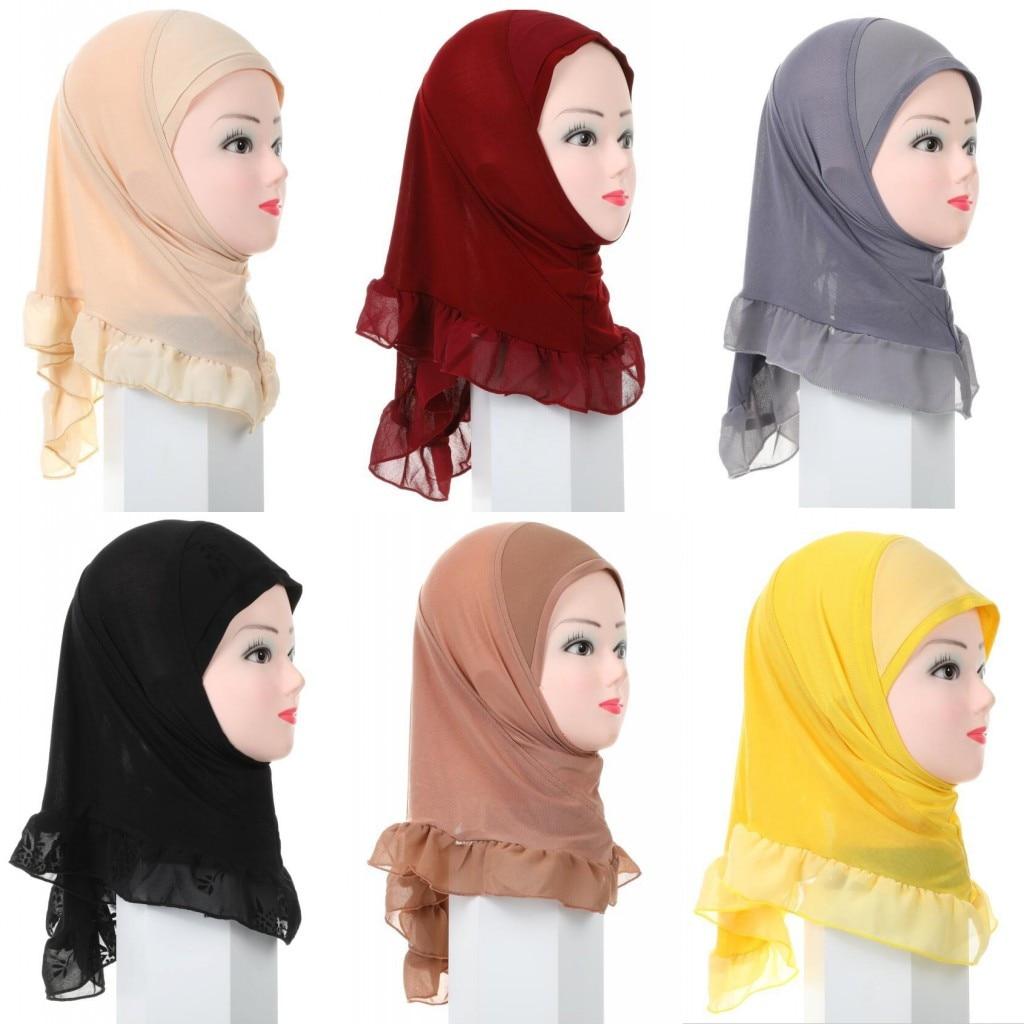 Мусульманский Детский Стандартный шарф, мусульманский шарф, цельный тюрбан, шапка, Нижний шарф, мгновенно готовый к носке, накидка на голову, шаль Рамадан, арабский