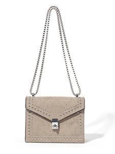 Chain-Lock Messenger-Bags Rivet Crossbody-Bag Travel-Handbag Scrub-Leather Shoulder Female