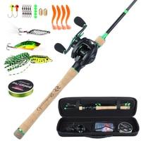 Sougayilang 8.1:1 High Speed Baitcsting Reel Rod Full Kit 1.8 2.4m Carbon Fiber Casting Rod Set Fishing Line Lures Hooks Combo