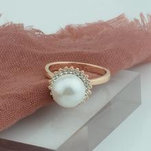 FJ 10 мм кольца с искусственным жемчугом женские кольца 585 цвета розового золота Круглые Кольца с кристаллами 7 8 9 10
