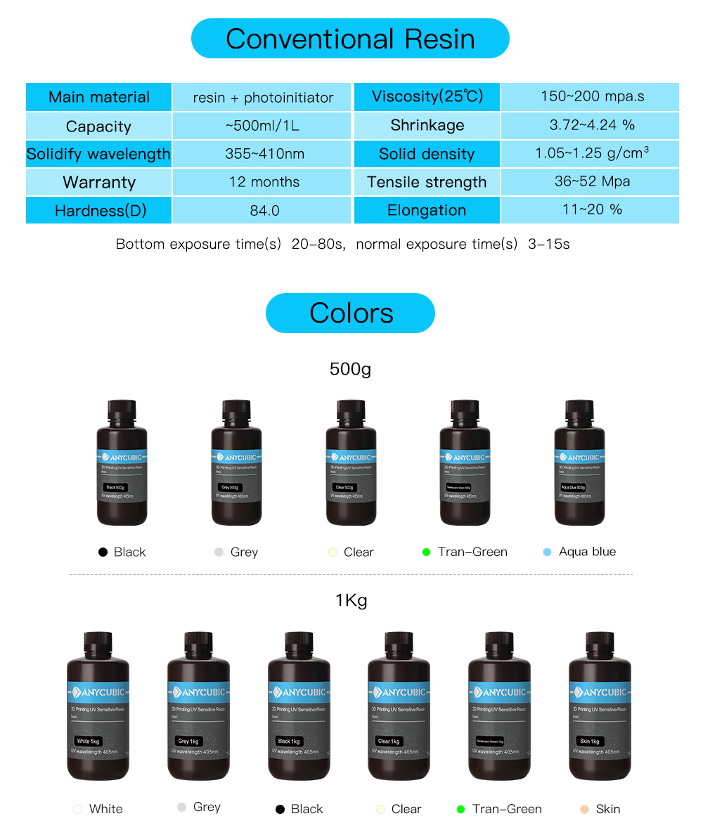 resine UV anycubic colors