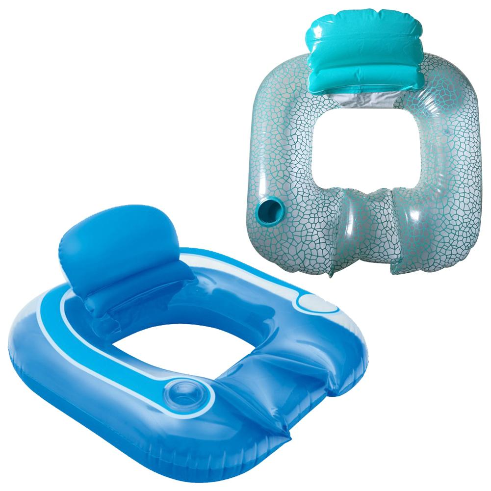 Water Inflatable Backrest Recliner Sitting Type Floating Row Swimming Ring Outdoor Swimming Pool Floating Chair For Kids Adults