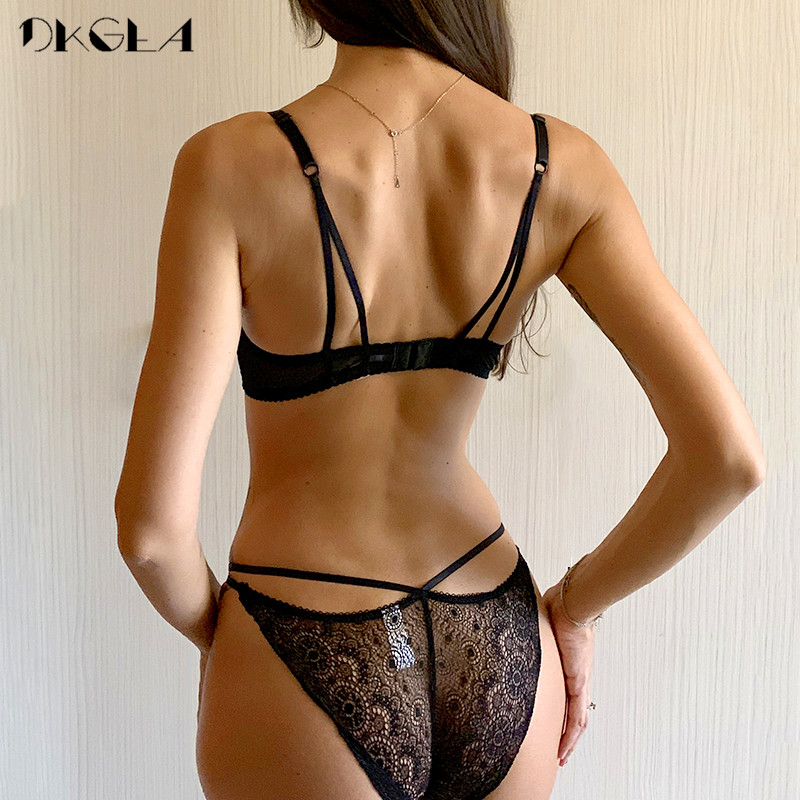 Super Gather Fashion Black Underwear Women Bra Set Push Up Brassiere Cotton Thick Deep V Sexy Bras Lace Lingerie Sets Embroidery