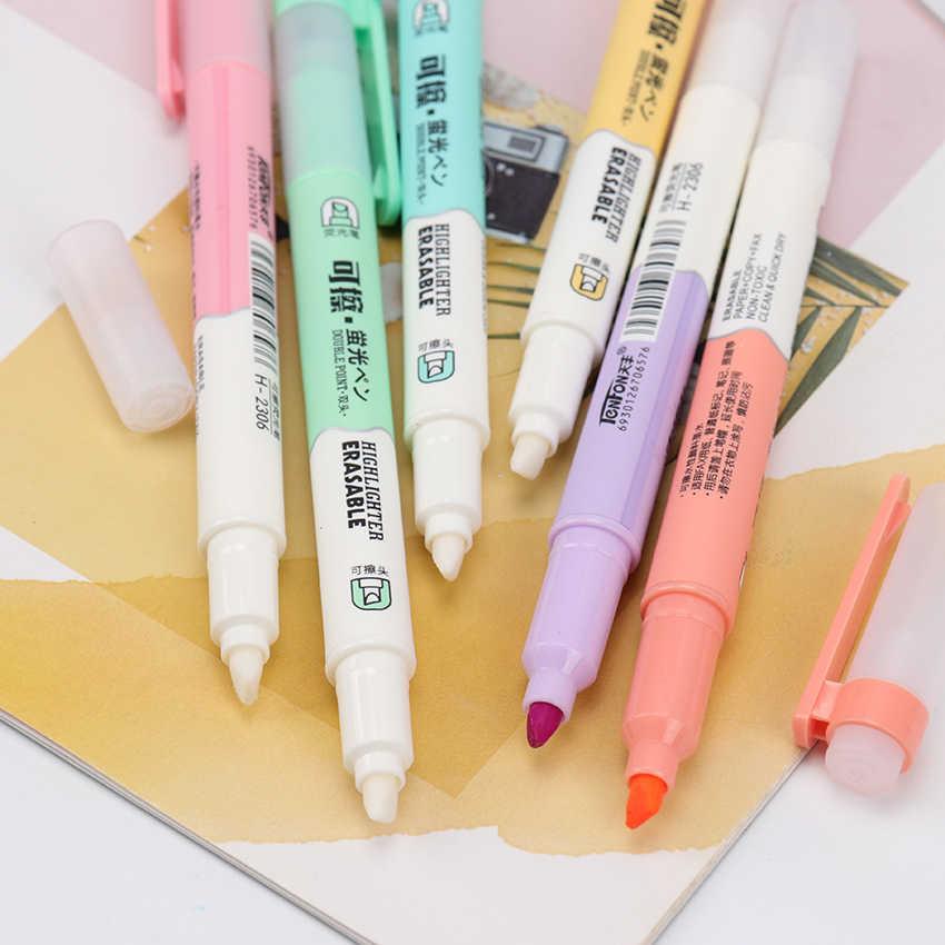 6 ピース/セットダブルヘッド消去可能な蛍光ペンマーカー蛍光ペン蛍光ペン描画画材