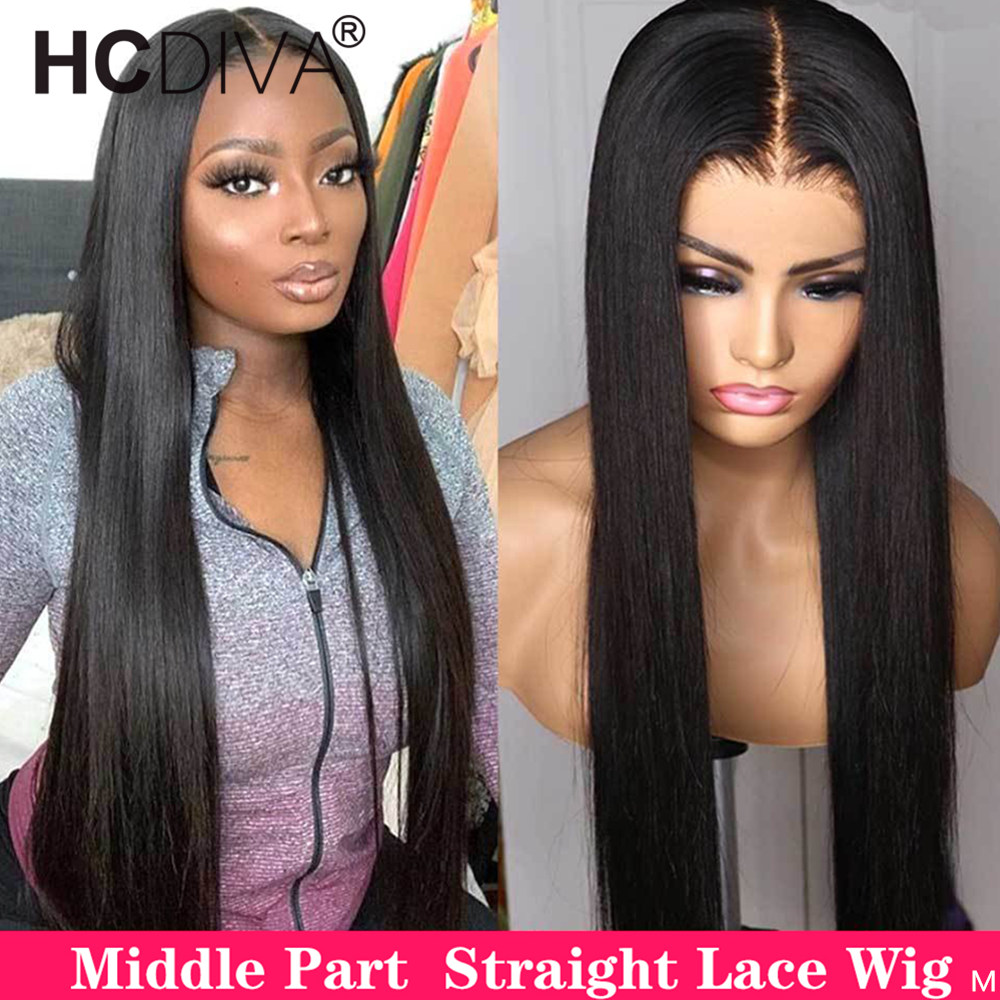 Wig Lace-Wig Human-Hair Middle-Part Pre-Plucked Straight Women Brazilian Remy 13x4  title=