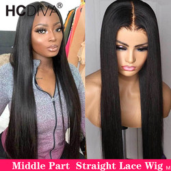 13x4 Lace Front Human Hair Wig Brazilian Straight Lace Wig Pre Plucked With Baby Hair Middle Part Lace Front Wig For Women Remy