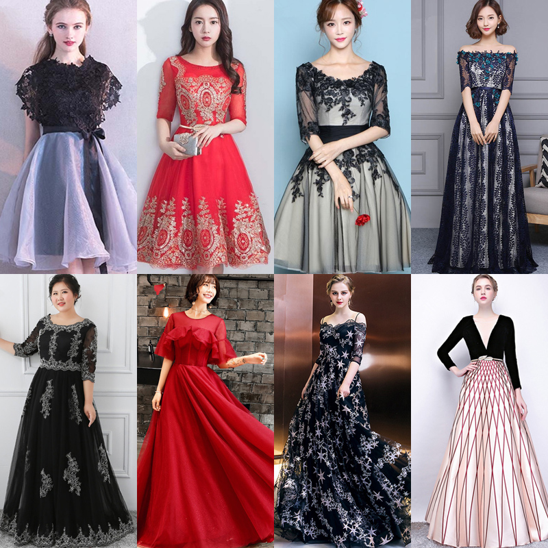 In Stock Prom Dresses Embroidery Lace Print Sleeveless O-neck Women Party Dress YS034 Prom Dresses More Style Clearance