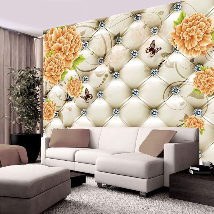 European Soft Roll TV Backdrop 3D Living Room Wallpaper TV Wall Decoration Wallpaper Minimalist Modern Mural