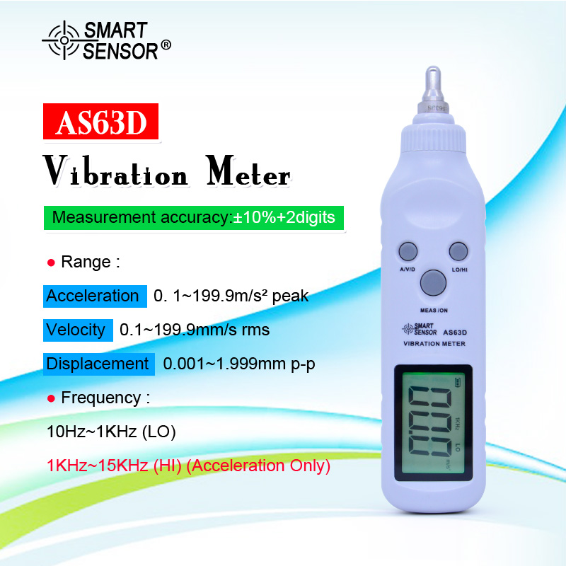 SMART SENSOR AS63D Pocket Vibrometer Pen Vibration Meter Tester Gauge Analyzer Measure Precision Sensitivity Accelerometers