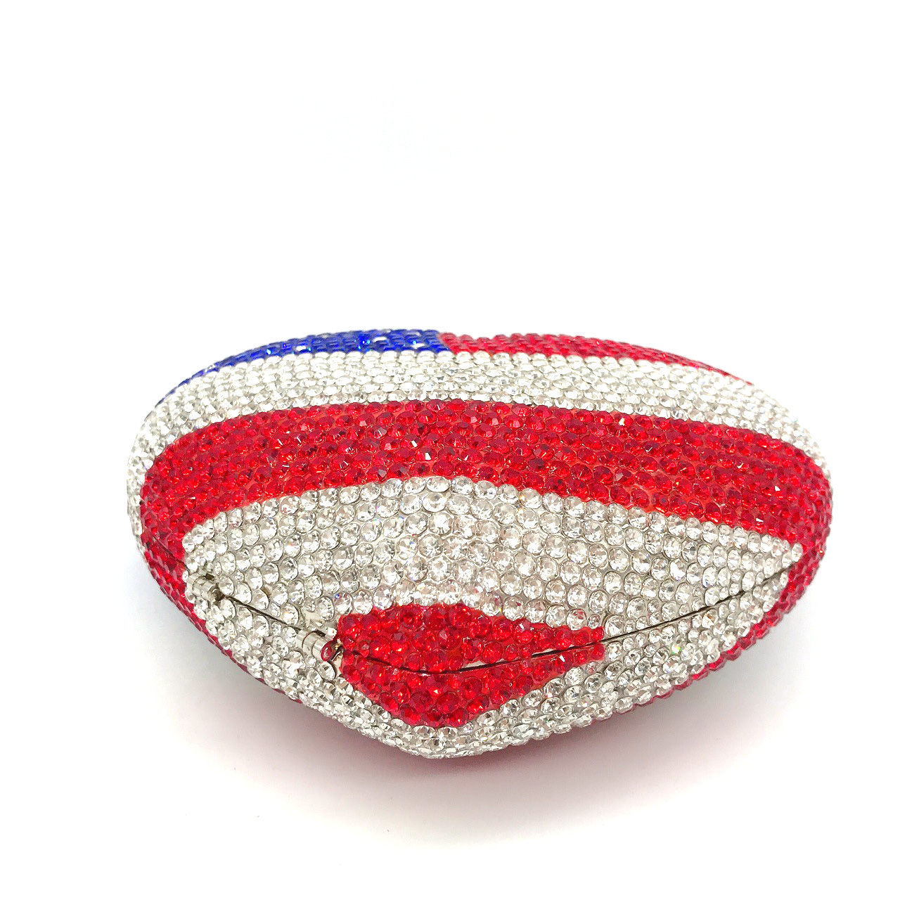Bag For Women American National Flag Heart-Shaped Women Crystal Evening Bag Metal Clutches Minaudiere Handbags and Purses-BeeInFly