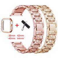 Band + fall für Apple Uhr diamant series5 4 3 21 metall weiblichen bügel für iwatch 38mm40mm42mm44mm ersatz armband zubehör