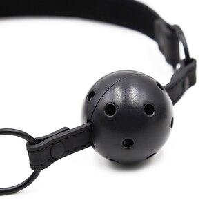 Image 5 - מין פתוח פה איסור פרסום כדור שחור עור מפוצל רצועת Bdsm Gag עם חורים פתוחים עבדים שעבוד מעצורים סקס צעצועים לנשים זוגות