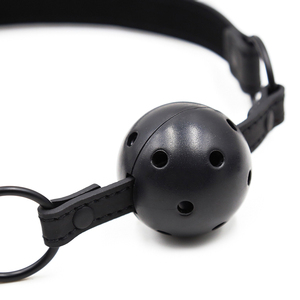 Image 5 - Sex Open Mouth Gag Ball Black PU Leather Strap Bdsm Gag With Open Holes Slave Bondage Restraints Sex Toys For Women Couples