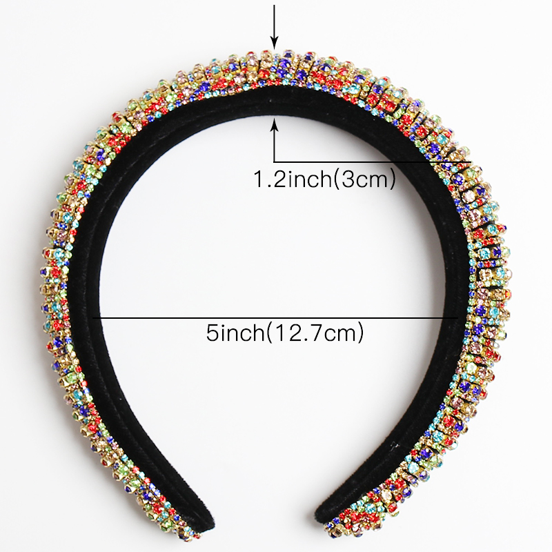 Rainbow Rhinestone Padded Headbands For Women Girls Luxury Thick Full Diamond Sponge Hairbands Women Crystal Hair Accessories