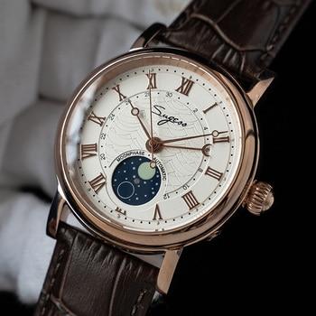 heren horloge SUGESS Mechanical Chronograph Watch Men Seagull ST2108 Movement Automatic Sapphire Moon Phase Luminous Hand Watch 1