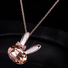 1Pc Korean Fashion Crystal Furong Stone Necklace Rose Gold Color Rabbit Bunny Pendant Choker Necklace For Women(China)