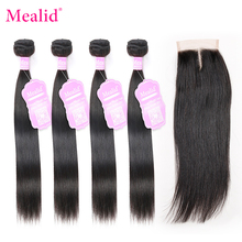 Mealid 4x4 lace Closure With Brazilian Hair Weave Bundles Non Remy Straight Human Hair 3 4 Bundles With Closure