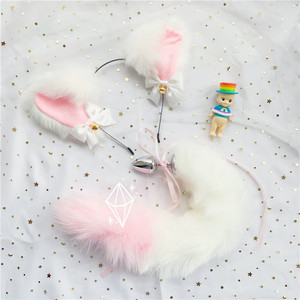 Image 2 - Cute Soft Neko Ears Headbands Faux Fox Tail Metal Butt Anal Plug Erotic Anime Cosplay Accessories Adult Sex Toys for Couples