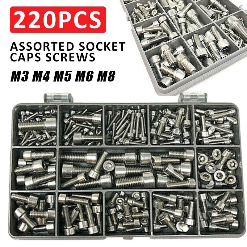 220 шт. винты с крышкой с метрической головкой из нержавеющей стали в ассортименте M3 M4 M5 M6 M8 DIN912 набор крепежных элементов в ассортименте