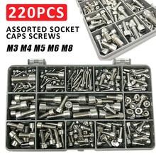 220 parafusos de tampão de soquete dos pces parafusos de tampão de cabeça de soquete métrica de aço inoxidável sortido m3 m4 m5 m6 m8 din912 fixadores jogo de sortimento
