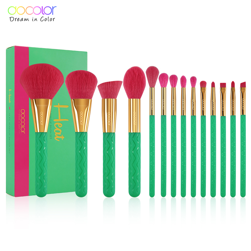 Docolor 14Pcs Professional Makeup Brushes Set Powder Foundation Eyeshadow Make Up Brushes New Heat Makeup Brush Cosmetics Tools-in Eye Shadow Applicator from Beauty & Health