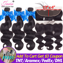 Ear To Ear Lace Frontal Closure With 3 Bundles Body Wave Malaysian Human Hair Weave With Frontal Closure 130% Density Remy JARIN(China)