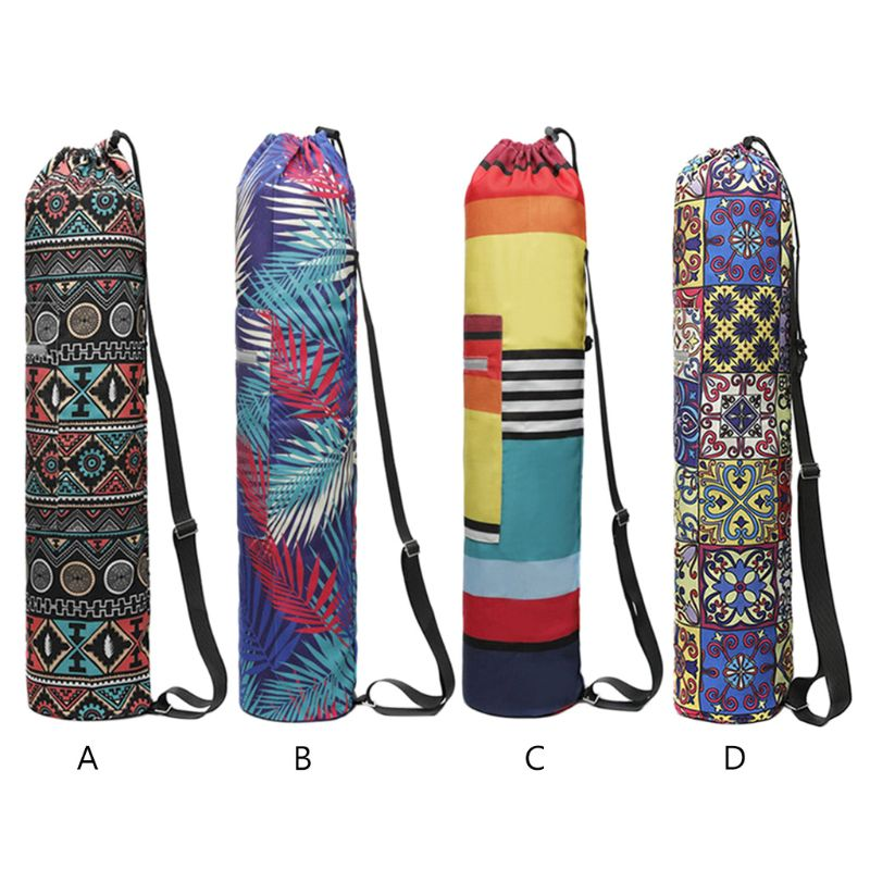 Durable Canvas Floral Printed Drawstring Yoga Backpack Bag Carry Adjustable Strap Bags For Pilates Yoga Carrying Bag