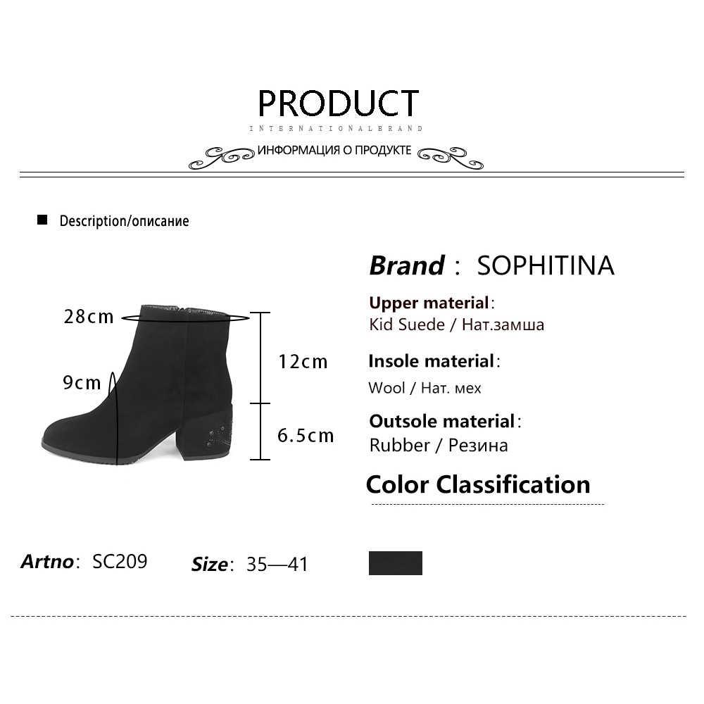 SOPHITINA yün kürk yarım çizmeler yüksek kaliteli çocuk süet kare topuk özel tasarım kadın ayakkabı fermuar el yapımı kış botları SC209