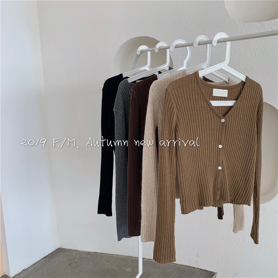 Women's V-neck Elastic Single-breasted Knitted Cardigan