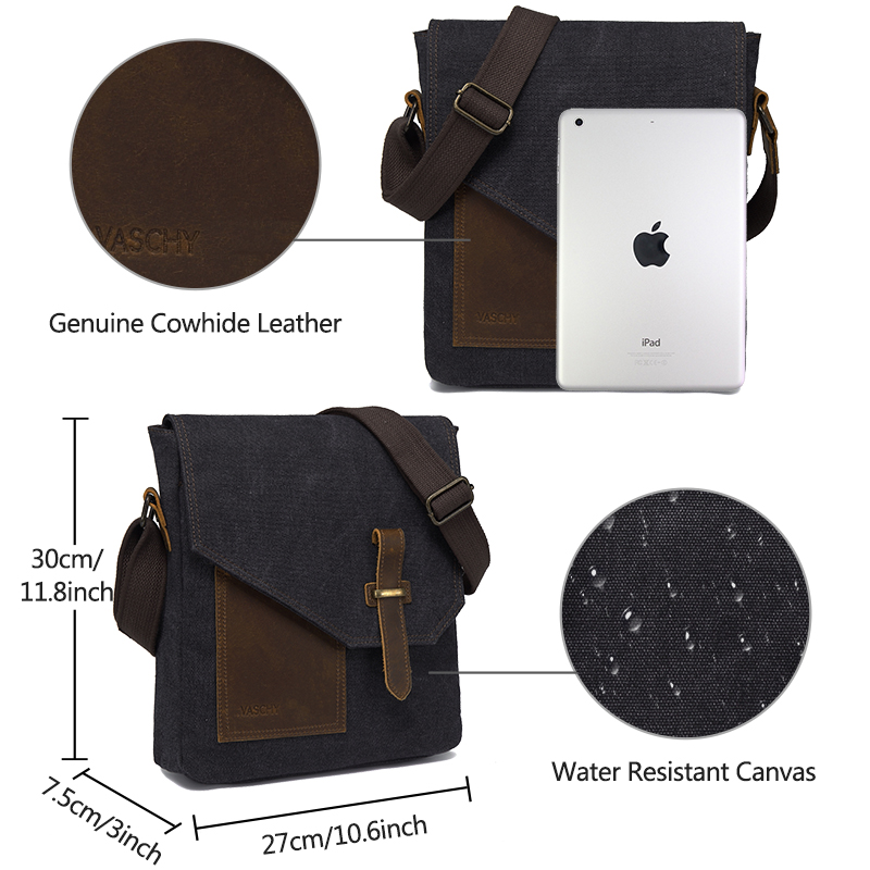 Mens Messenger Bag Small Canvas Leather Lightweight Crossbody Shoulder Bags