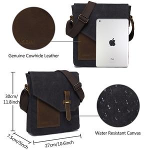Image 3 - VASCHY Lightweight Irregular Mens Small Messenger Bag Vintage Cowhide Leather Water Resistant Canvas Crossbody Shoulder Bags