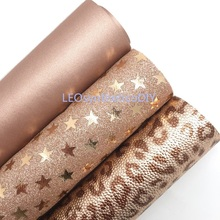 Glitter Fabric Roll Making-Bows Rose-Gold Faux-Leather Leosyntheticodiy Printed Leopard