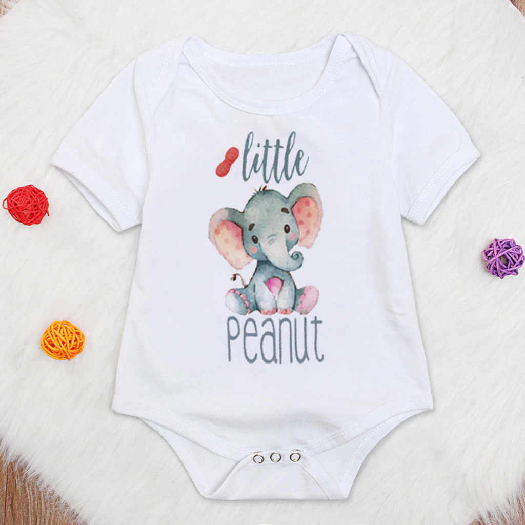 2020 nowy maluch dzieci dziewczynka ubrania chłopiec list słoń topy body Romper niemowlę słoń słodkie ubrania Sunsuit