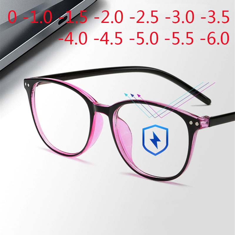 Rivets Finished Myopia Glasses Women Blue Film Coating Oval Nearsighted Eyeglasses -1.0 -1.5 -2.0 -2.5 -3.0 -3.5 -4.0 -4.5 -6.0