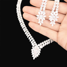 Fashion rhinestone zircon leaf drop necklace earring set elegant bride bridesmaid wedding exquisite jewelry ladies gift цена 2017