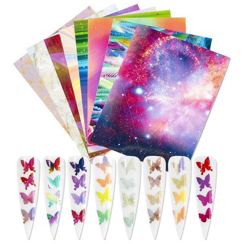 Decal Sticker Foils Nail-Art-Decorations Holographic Butterfly DIY 3D Thin Laser 16pcs