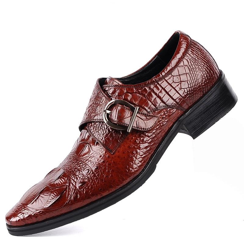 2019 NEW Cross-border New Large Size Crocodile Leather Shoes For Men Buckle Crocodile Shoes EU38-48