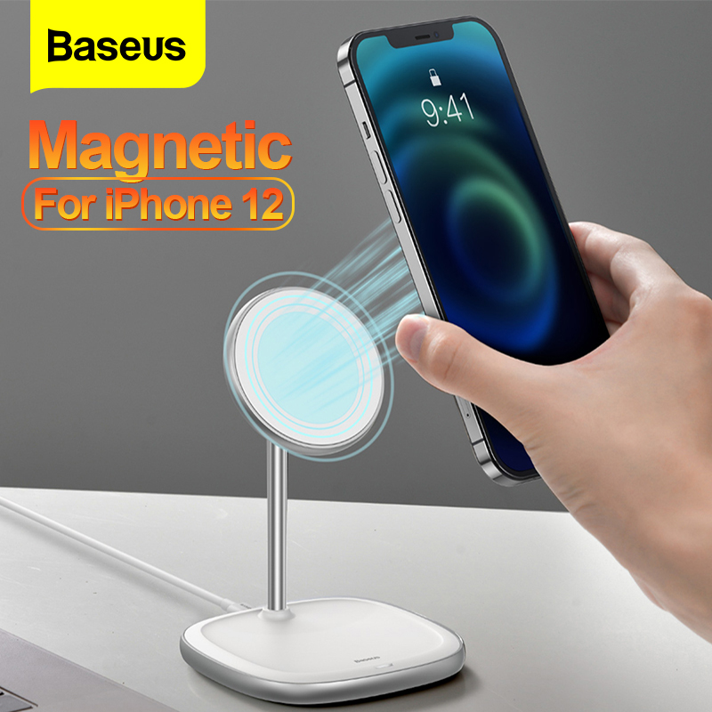 Baseus 15W Qi Magnetic Wireless Charger For iPhone 12 Pro Max PD Fast Charging Pad Phone Holder For iPhone 12 Mini Desktop Stand    - AliExpress