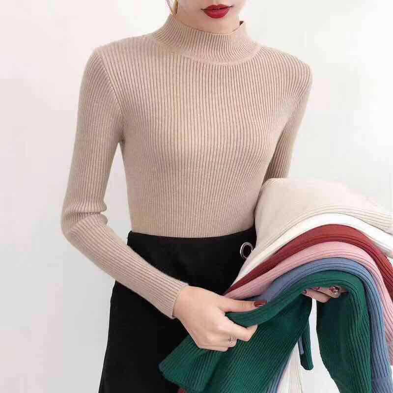 Otoño de manga larga mujeres suéter cuello alto de punto suéteres de la elasticidad del invierno sólido ropa informal ajustada Tops mujer 2020|Pulóveres|   - AliExpress