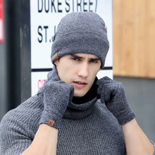 Gloves-Set Scarf-Set-Kit Hats Beanies Winter Male Fashion Plus Zou.rena Knitted Velvet