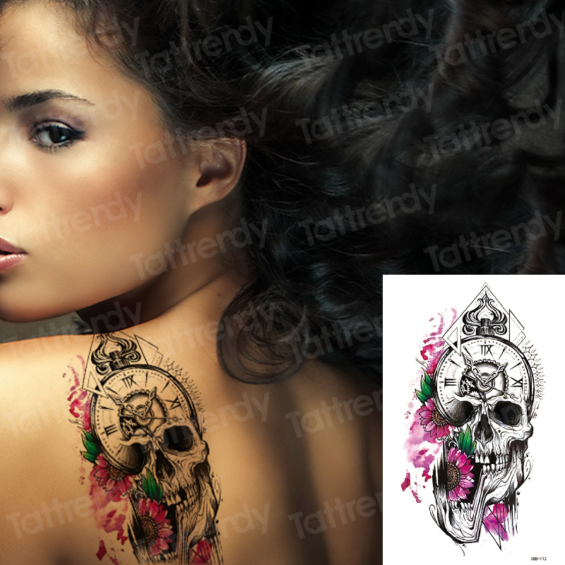Temporary Back Tattoos Sexy Death Skull Robot Tattoo Sticker Women Men Arm Sleeve Shoulder Tattoo Body Art Waterproof Black
