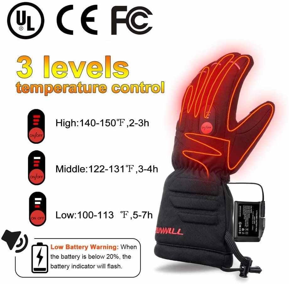 Перчатки с подогревом для катания на лыжах и мотоциклах, перезаряжаемые на аккумуляторах