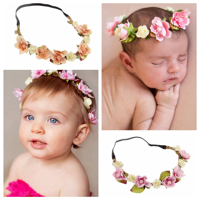 BalleenShiny Kids Flower Wreath Head Band Baby Girls Elastic Crown Headwear Princesses Women Hair Accessories Photograph Props
