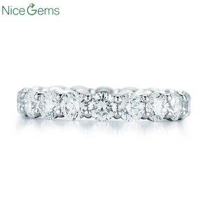 Image 2 - NiceGems 14K 585 or blanc Moissnite éternité bande 3mm/3.5mm/4mm/5mm rond brillant moissanitebague de mariage alliance