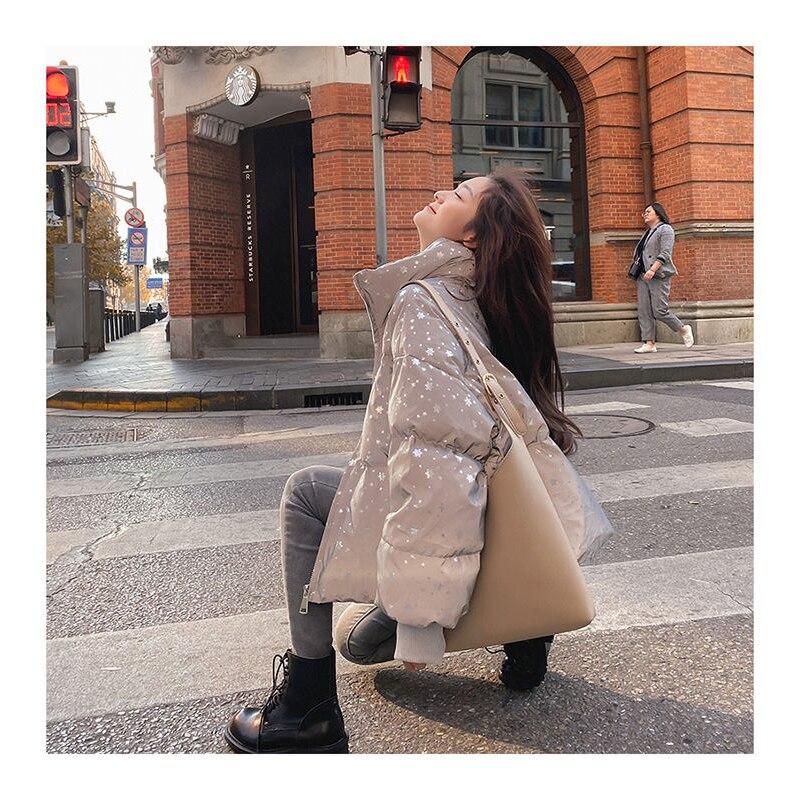 2020 new snowflake reflective cotton clothes women